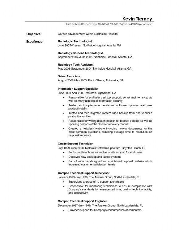 resume radiologic technologist