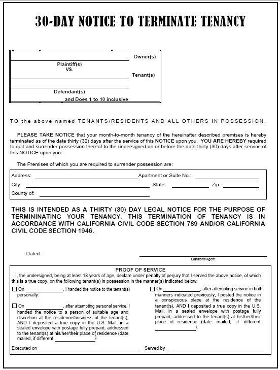 Blank Eviction Notice Form Blank Eviction Notice Form Free Word - 30 day notice template