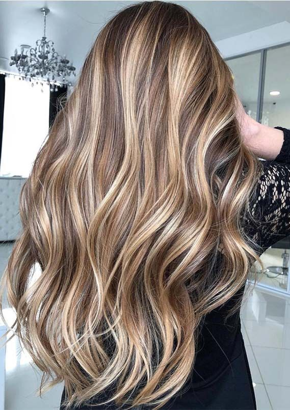 Famous shades and highlights of balayage hair colors and highlights for long hair to flaunt nowadays. This dreamy shade of balayage hair color with blonde shades is looking really awesome and unique.