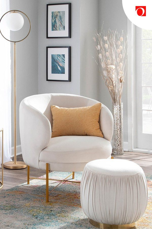 Every cozy corner needs a deep-seated chair with a perfectly positioned footstool. Shop accent chairs at Overstock for amazing deals on quality home essentials! #accentchair #livingroomchair #livingroom #accentfurniture #statementchair #statementfurniture #cozyfurniture #comfyfurniture #livingroomfurniture #armlesschair #clubchair #upholsteredchair #homegoods #furniture #livingroomchairs #boldaccentchairs