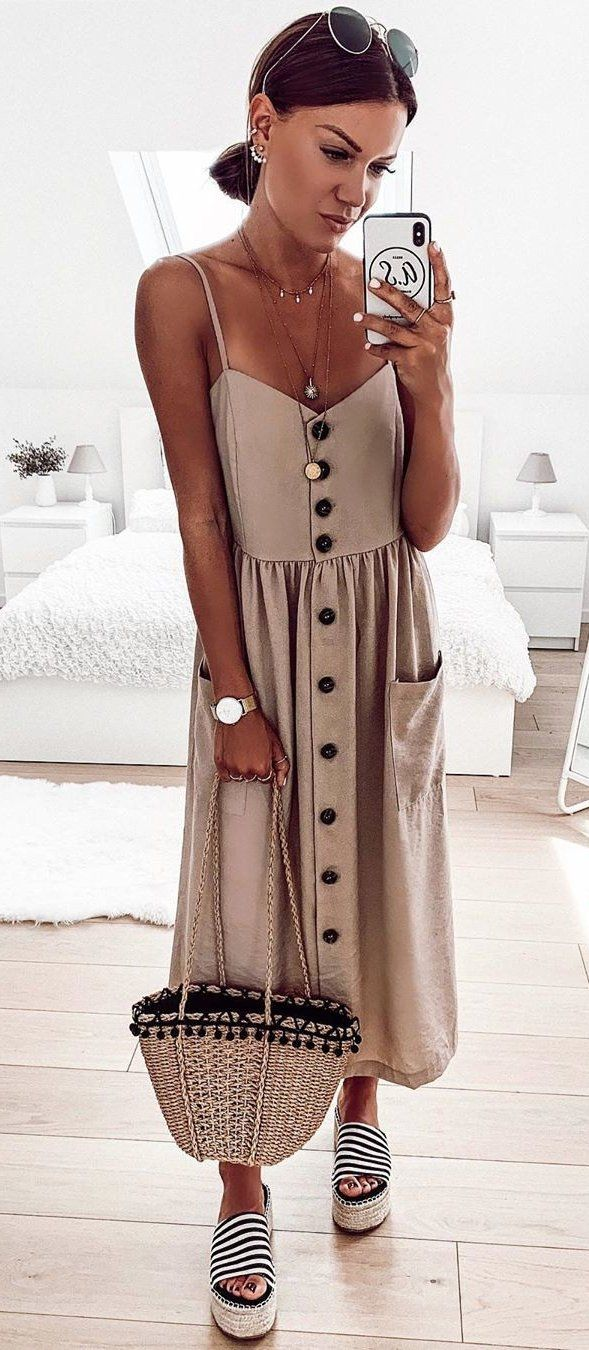 gray dress #summer #outfits