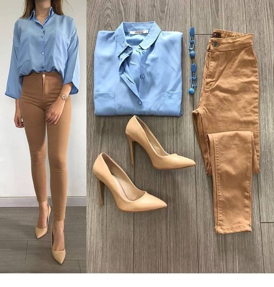 Blue shirt and brown details for work