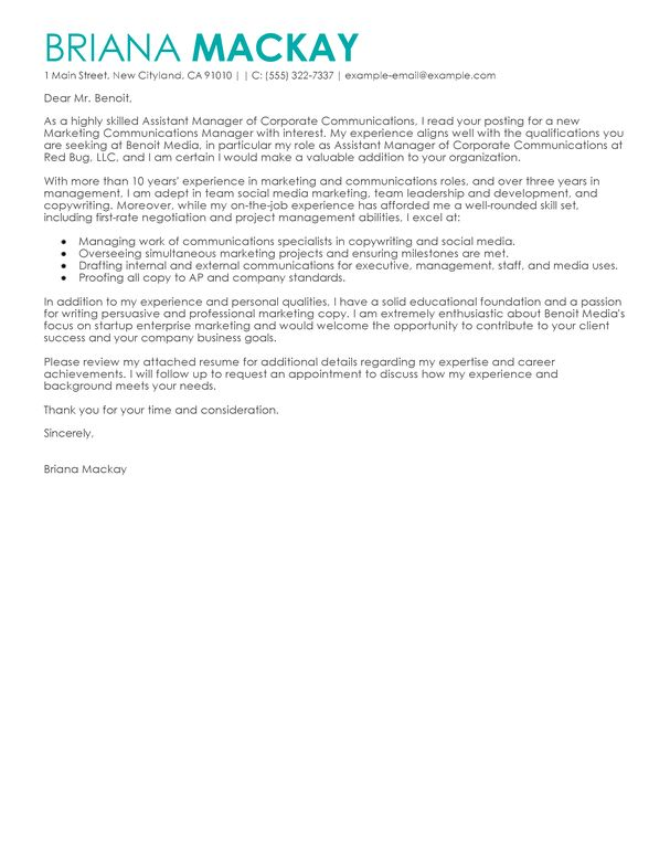 communications cover letter marketing communications specialist