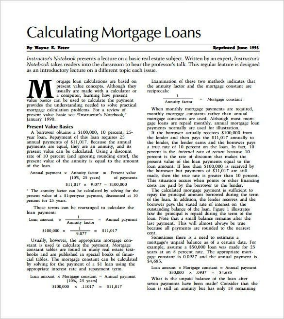 Mortgage Template Mortgage Agreement Template Mortgage Lien Form - mortgage calculator template