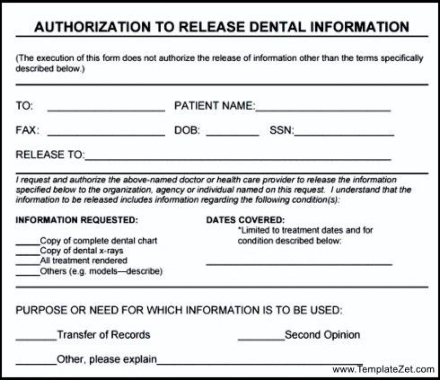 Medical Record Release Form Template Sample Medical Records - dental records release form