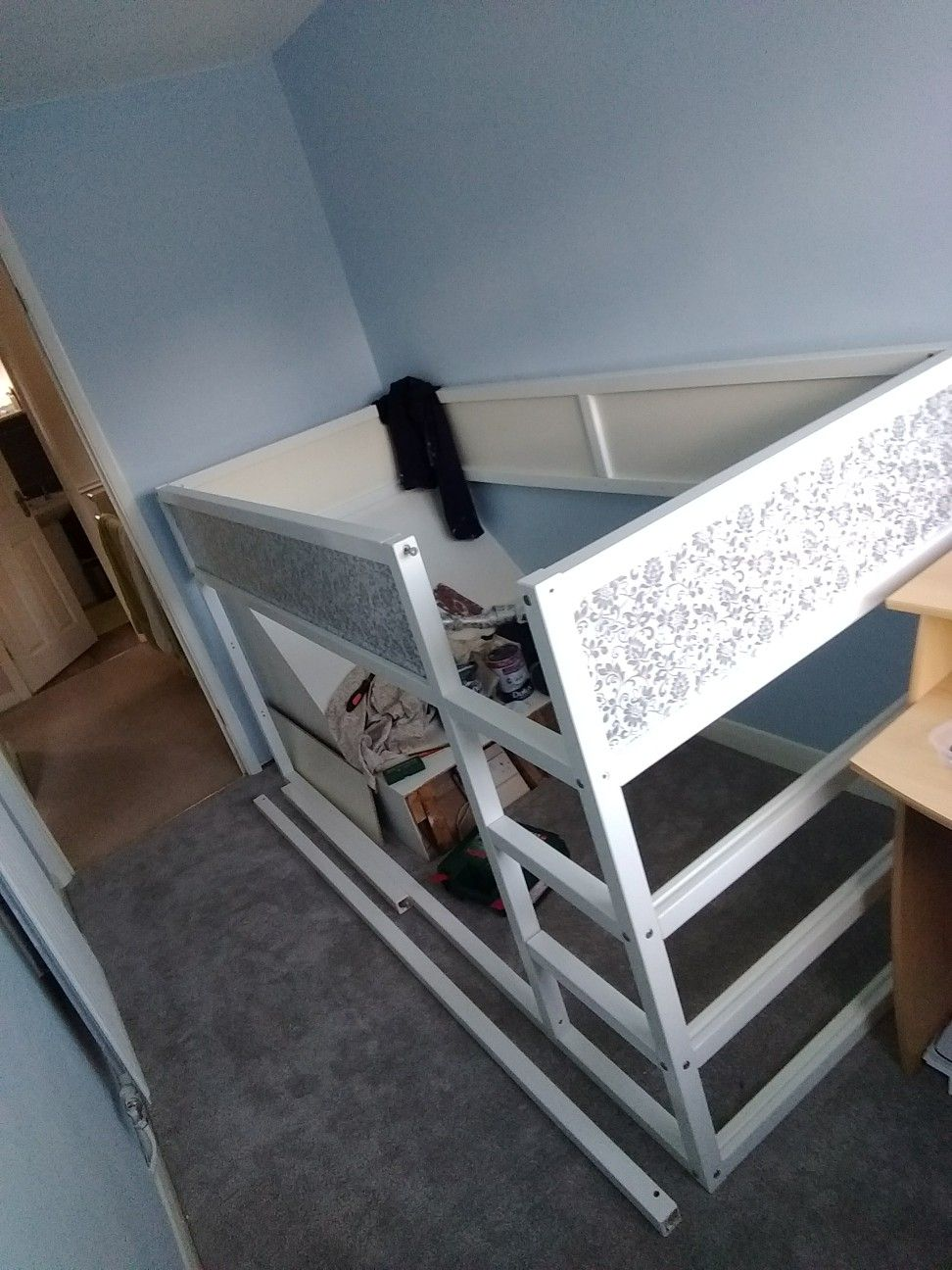 Start Of An Ikea Kura Bed Hack To Cover A Stair Bulkhead In Very Small Bedroom Ikea Kura Bed Box Room Bedroom Ideas Stairs Bulkhead