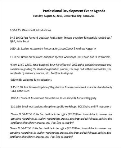 Professional Agendas 8 Sample Professional Agenda Free Sample - event agenda sample