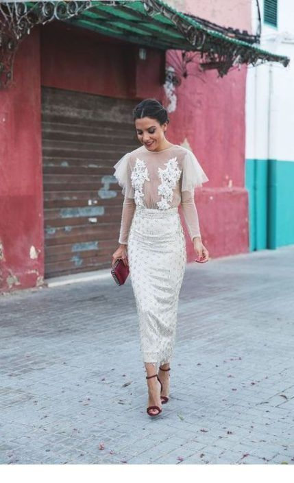 Chic white dress with red details