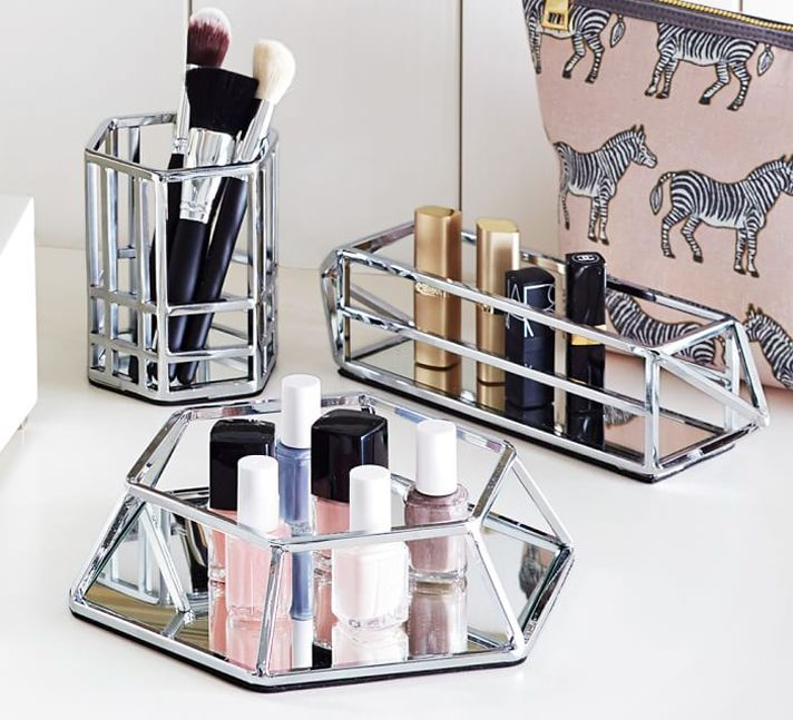 STYLECASTER | storage | organization | storage ideas | makeup storage | makeup organization | pottery barn | 20 Truly Innovative (and Instagrammable) Ways to Store Your Beauty Products