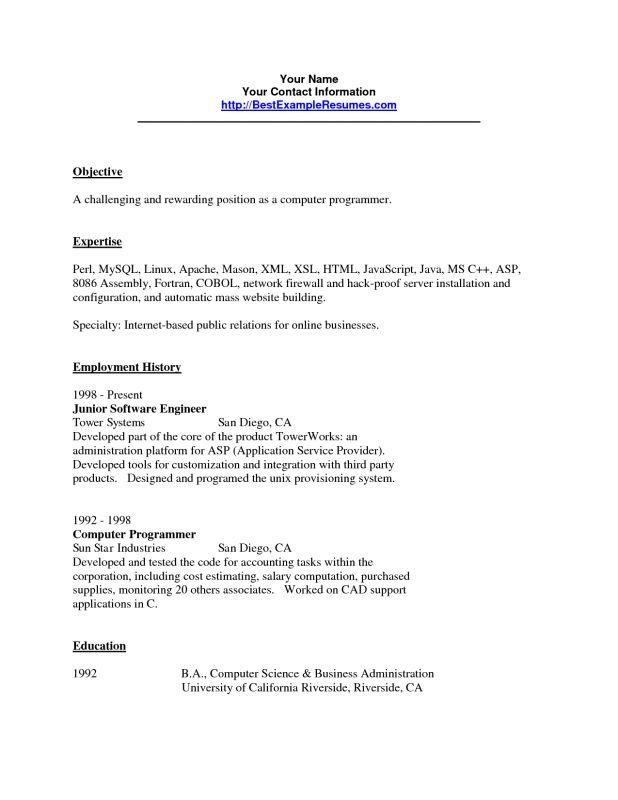 cobol programmer resume