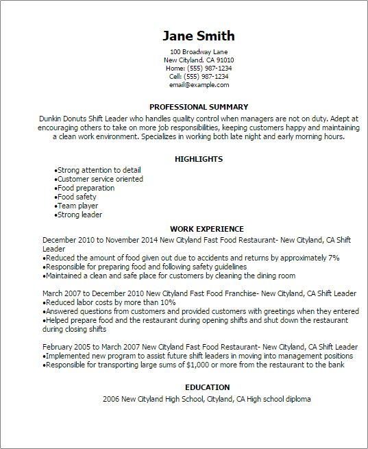 sample resume for leadership position resume for project dunkin donuts resume