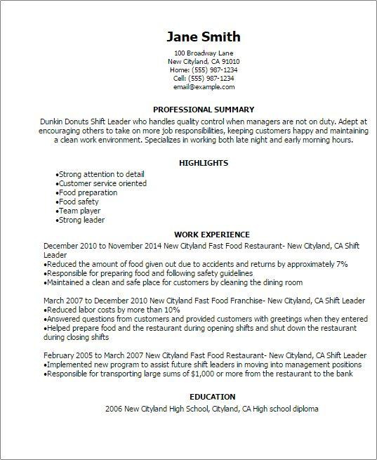 sample resume for leadership position resume for project dunkin donuts resume - Sample Resume For Leadership Position