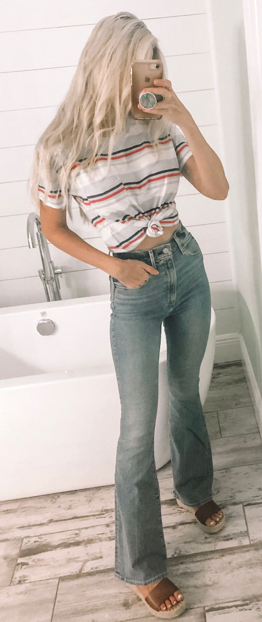 gray, red, and white striped top and blue bell bottoms #summer #outfits