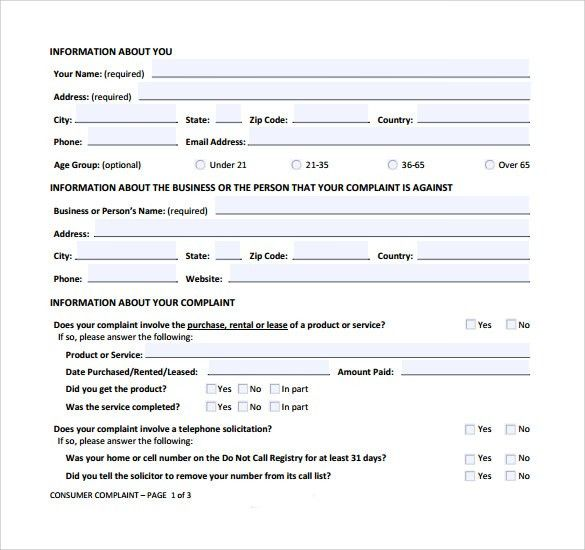 Sample Banking Ombudsman Complaint Form - Resume Template Ideas