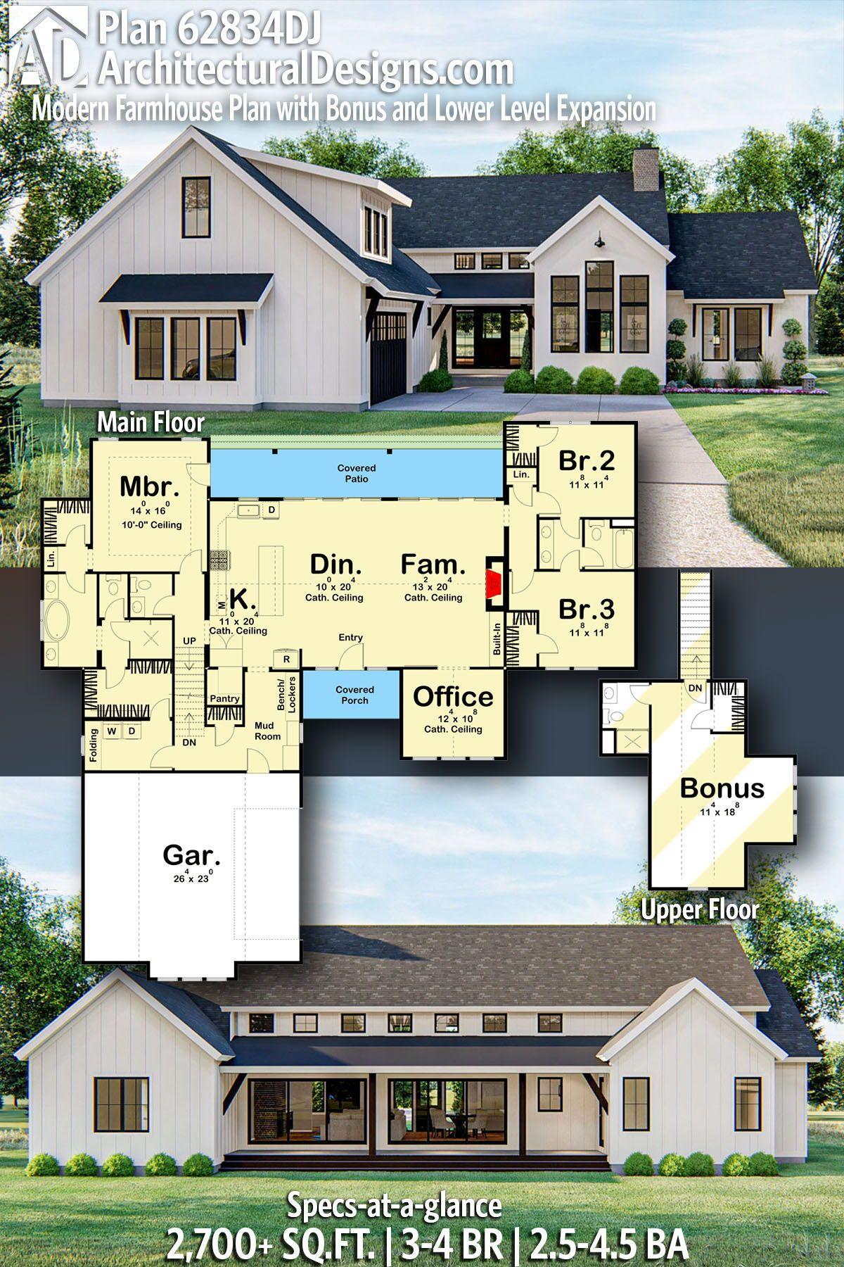 Plan 62834DJ: Modern Farmhouse Plan with Bonus and Lower Level Expansion