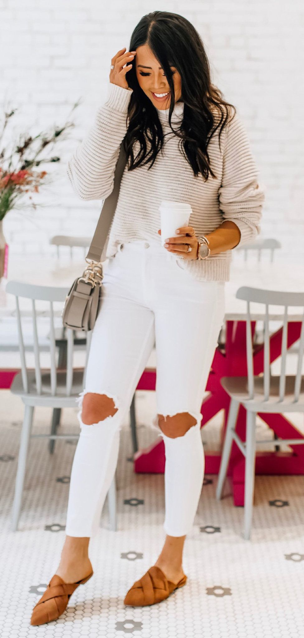 gray long-sleeved shirt and white distressed denim jeans #spring #outfits