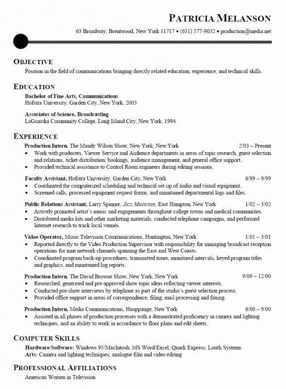 Internship Resume Examples Career Center Internship Resume Sample