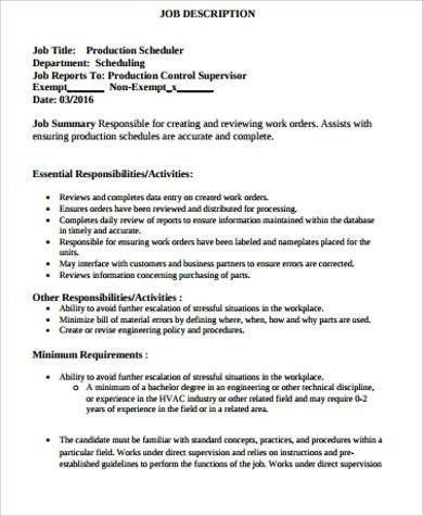 Manufacturing Scheduler Sample Resume  EnvResumeCloud