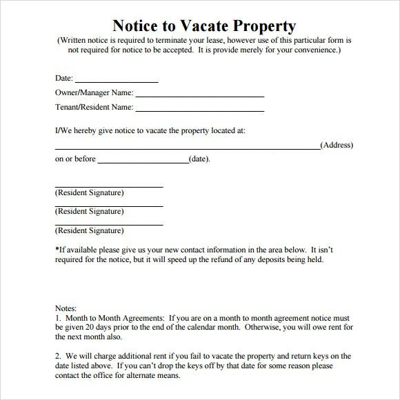 Notice To Vacate Property Template Notice To Vacate Template 30 - eviction notice template