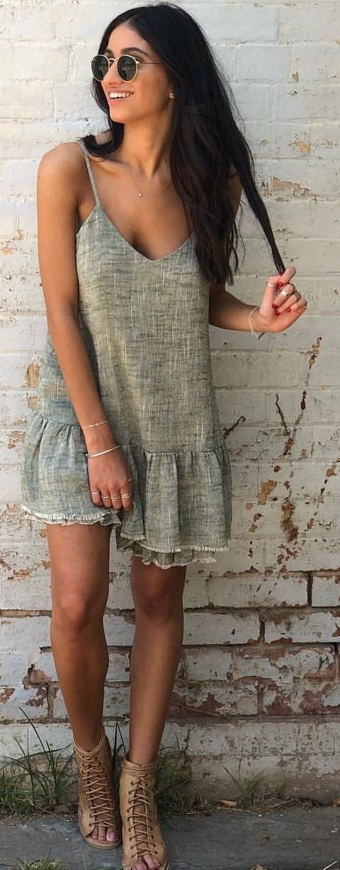 gray floral cami-strap dress