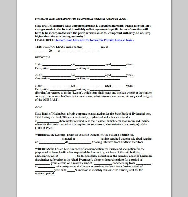 Format Of Lease Agreement Lease Agreement Form A To Z Free - sample commercial lease agreement