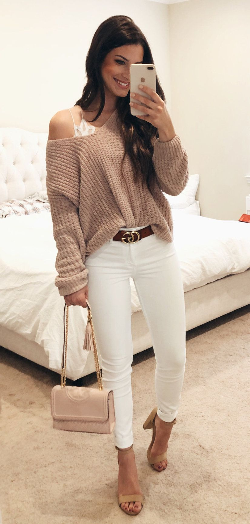 white long sleeve shirt #spring #outfits