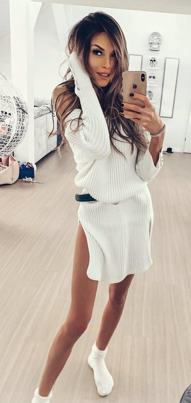 white knit long-sleeved dress #spring #outfits