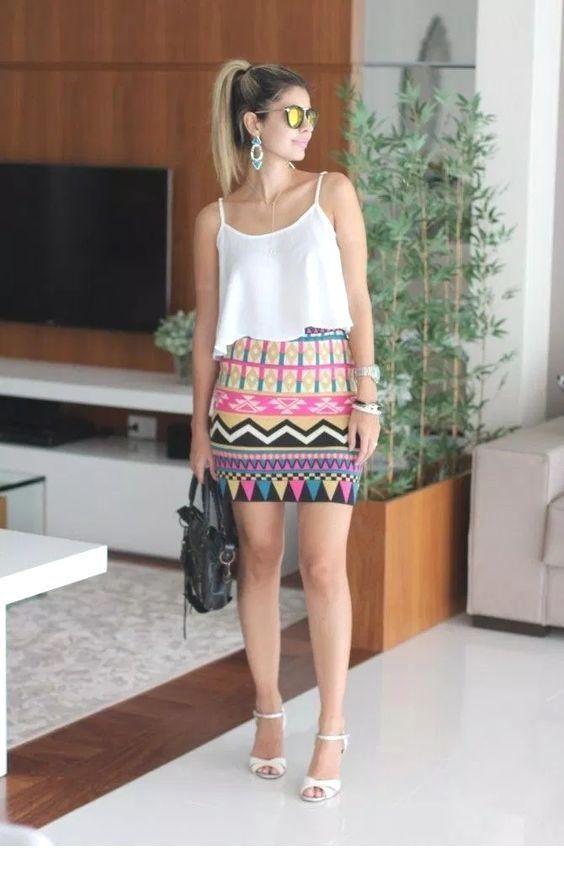 Colorful tribal printed mini skirt