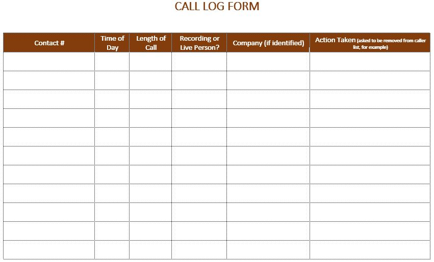 Call Log Sheets  BesikEightyCo