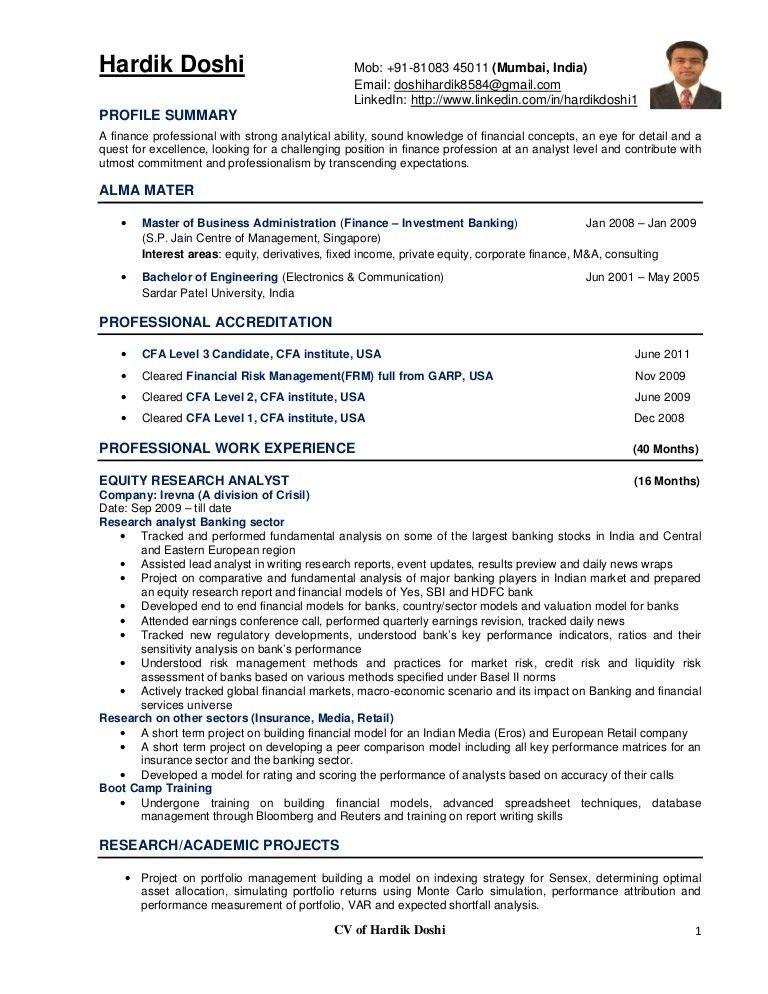Market Risk Analyst Sample Resume Credit Risk Analyst Cv Sample