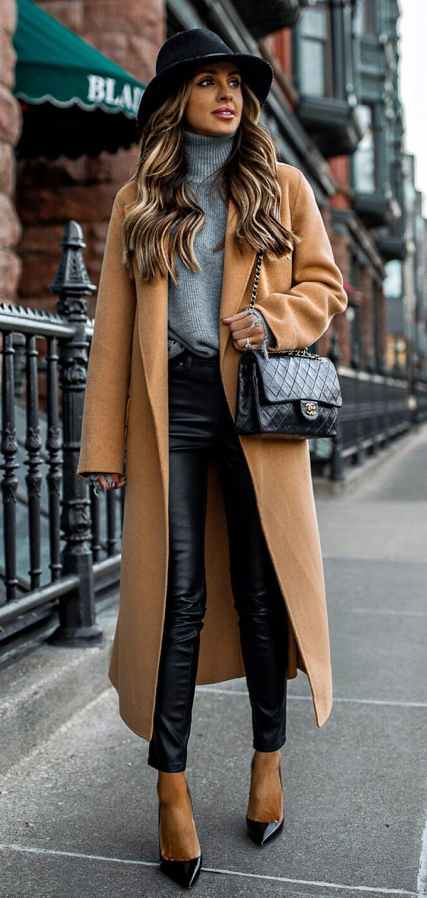 brown leather sling bag #winter #outfits