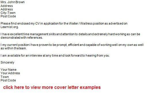 cover letter waiter