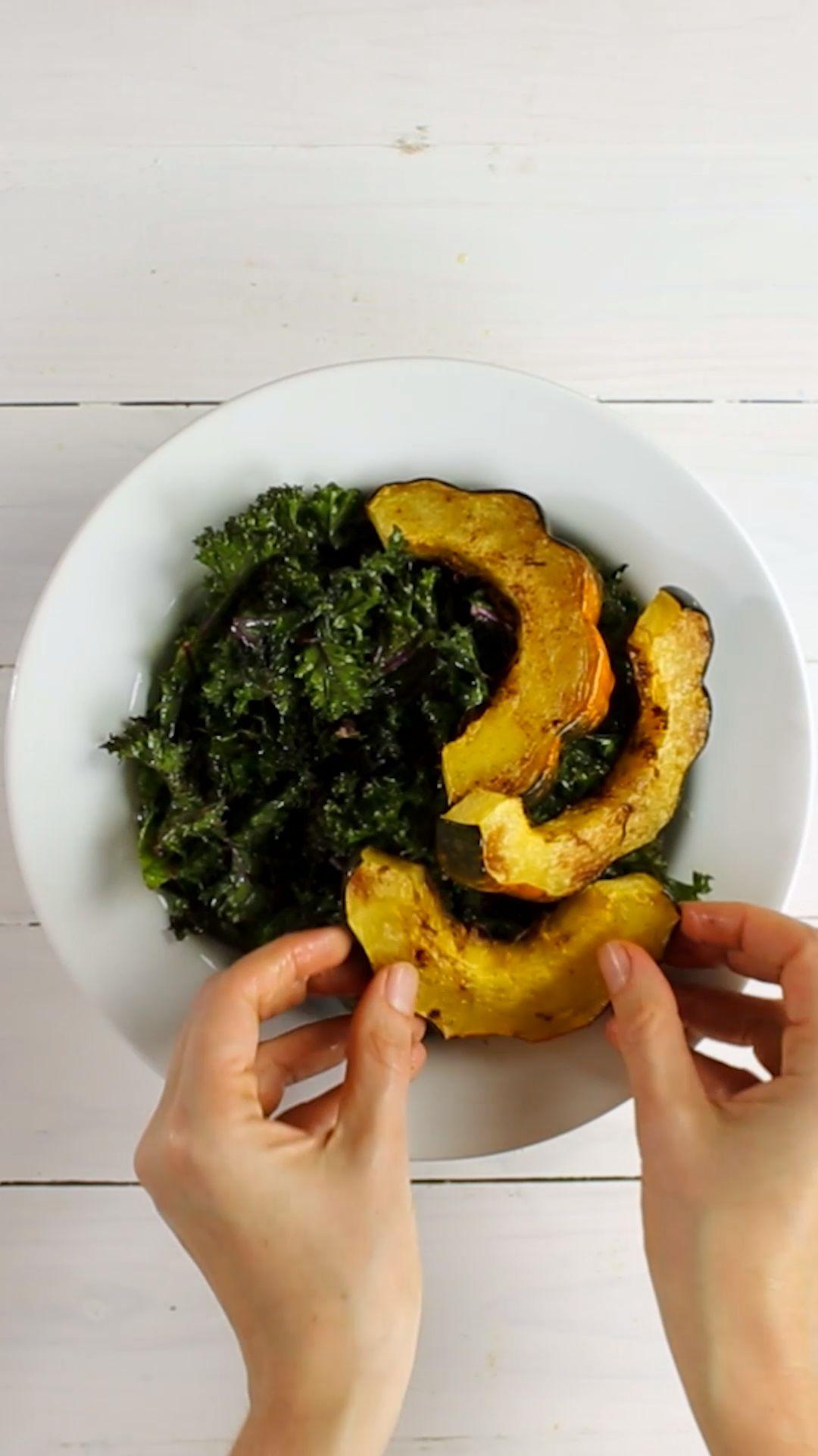 Roasted Acorn Squash & Kale Salad