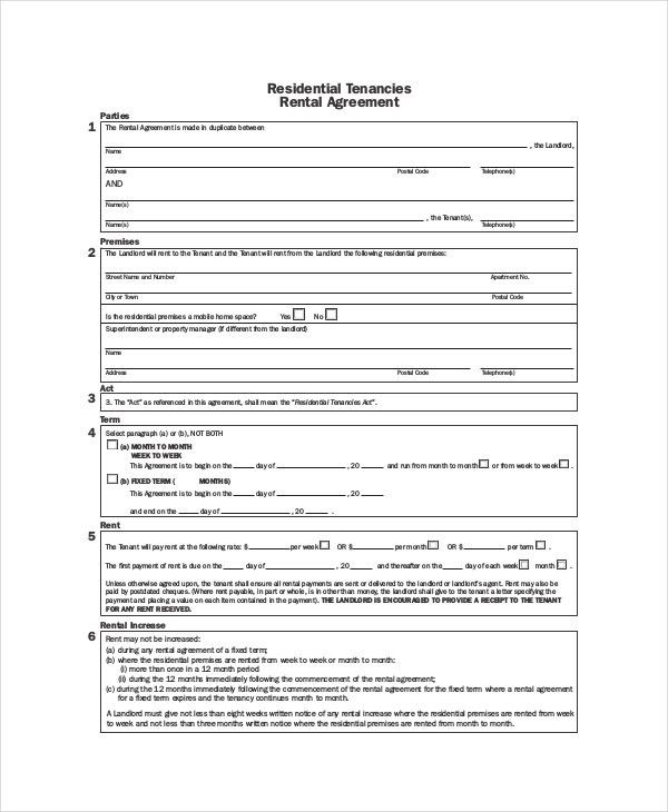 Residential Tenancy Agreement Template Free Free Rental Forms To - roommate rental agreement