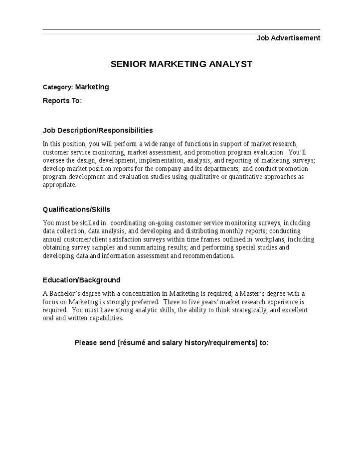 Analyst Job Duties Sales Analyst Job Description 1 - research analyst job description