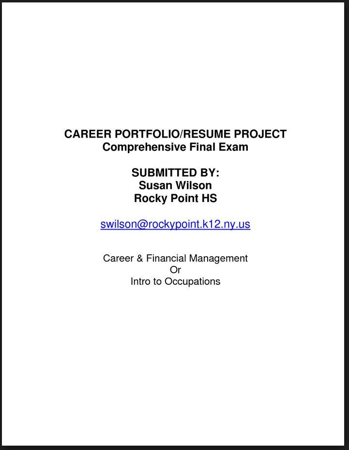 title page for portfolio example