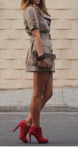 Shirt dress, red boots and leo bag