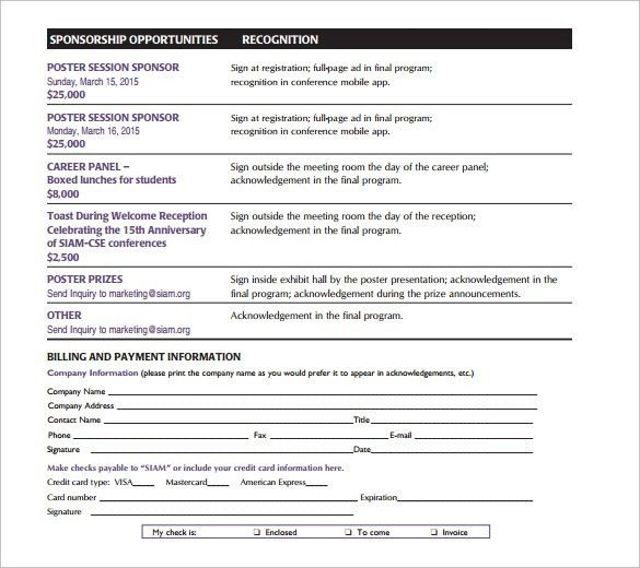 Sponsorship Cards Free Sponsorship Form Template Word Excel Pdf - sponsorship contract template