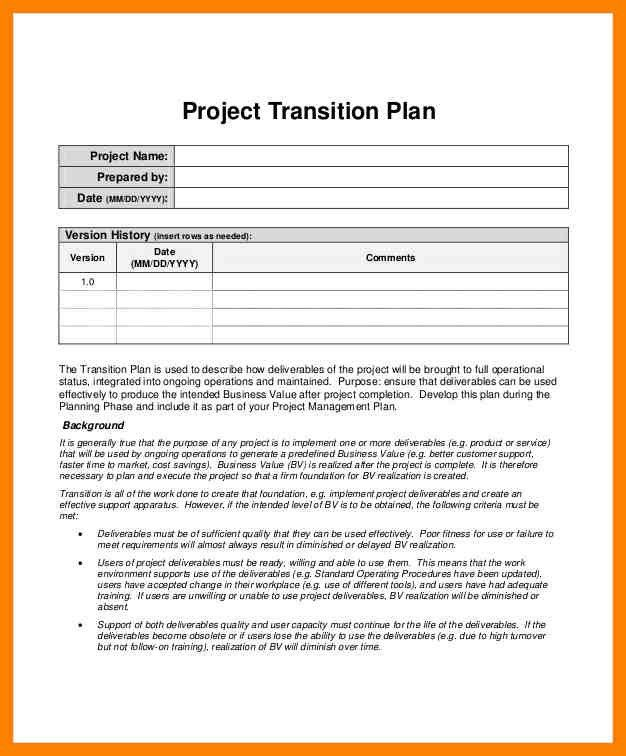 Implementation Plan Template Project Implementation Plan Template - transition plan template