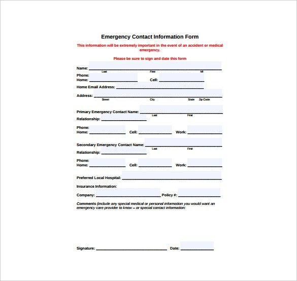 Contact Information Template 5 Contact Info Templates Formats - sample contact sheet