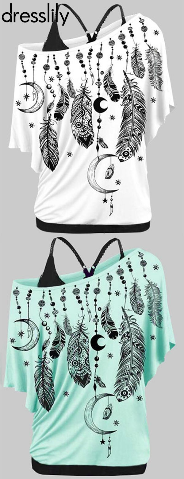Skew Neck Feather Print T-shirt and Cami Top Twinset