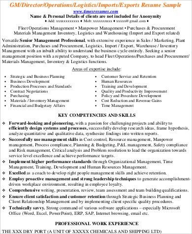 Import export resume sample - import export specialist sample resume