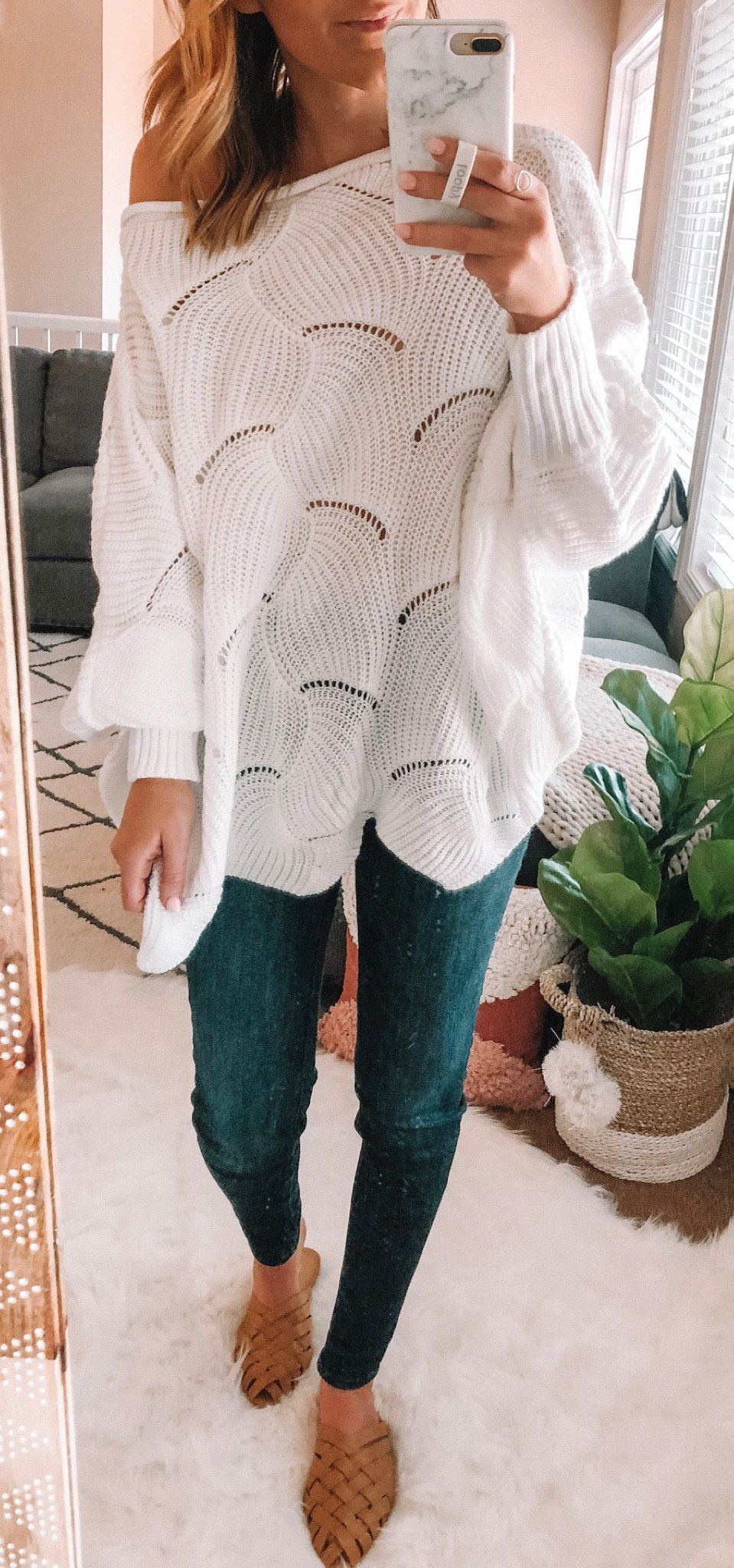 brown and white cowl-neckline top #spring #outfits