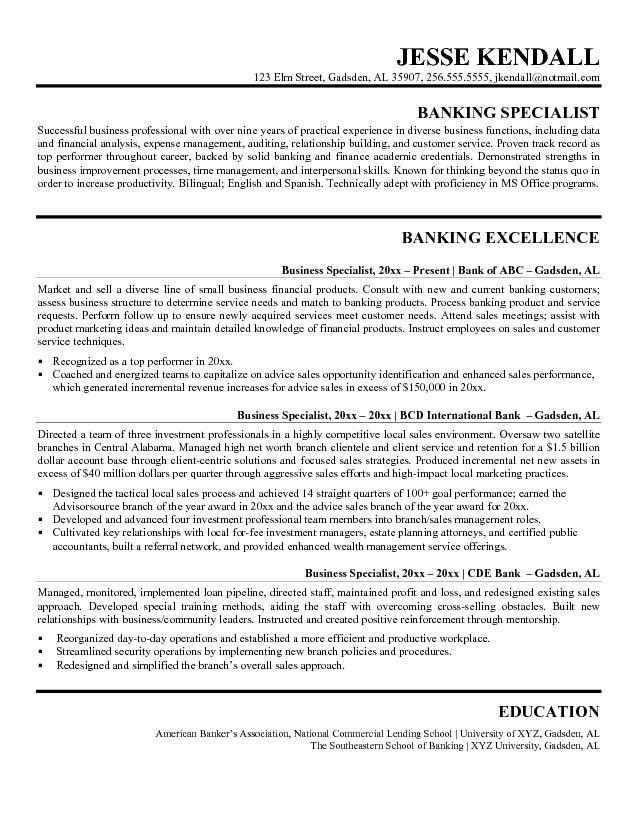 Resume Samples For Banking Professionals Resume Example, Banker - investment banking resume template