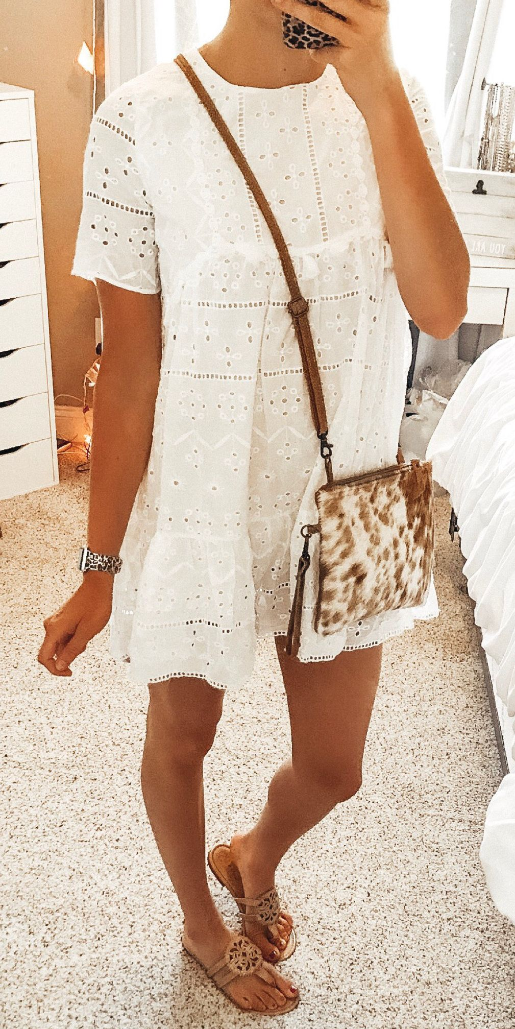 white short-sleeved dress #summer #outfits