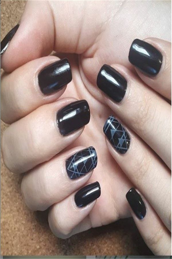 Top 33 Perfect Black Gel Nail Art Designs Trends 2019 – Fashonails #nail_art_designs #trendy_nails #black_nails #gel_manicure