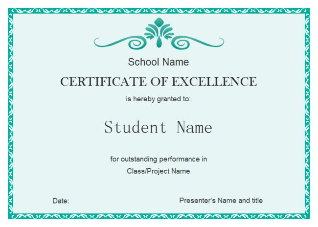 Certificate Of Excellence Template Free Certificate Of Excellence    Certificate Award Template