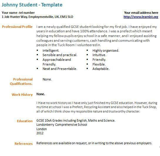 resume for 1st job