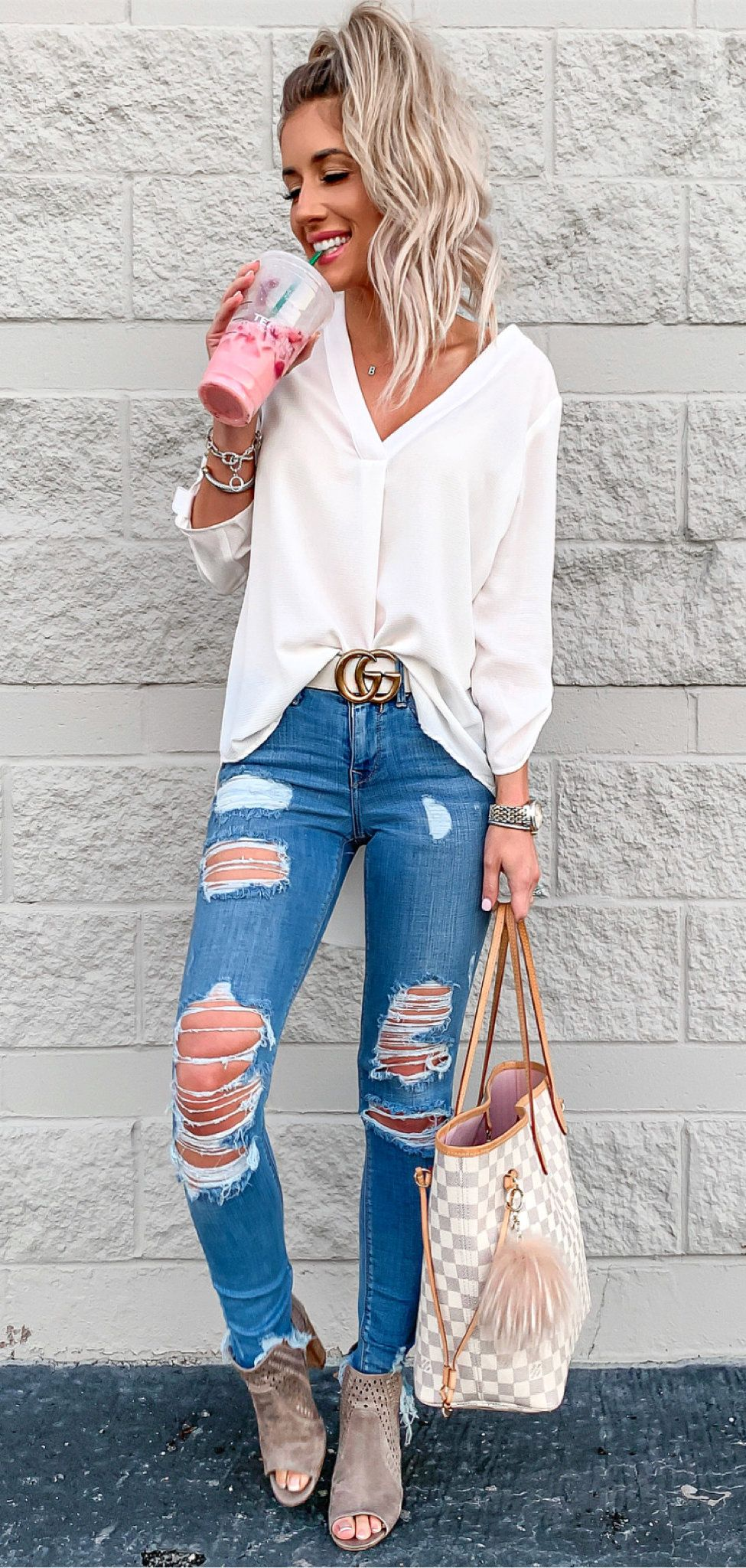 white and red long sleeve shirt #winter #outfits