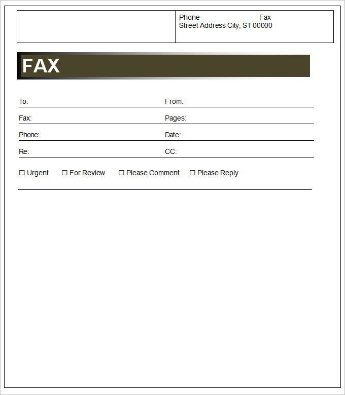free fax cover template